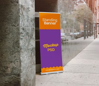 Free Outdoor Advertising Standing Banner Mockup