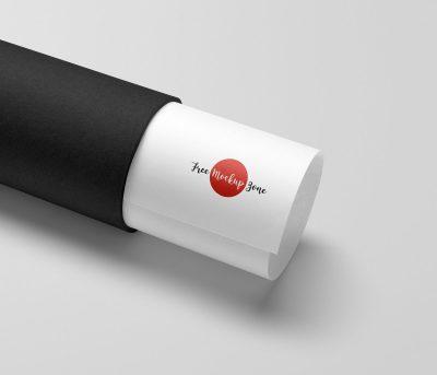 Free Paper Tube Logo Mockup