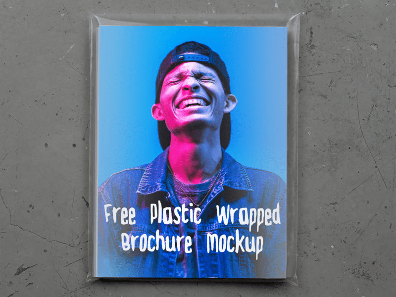 Free Plastic Wrapped Brochure Mockup