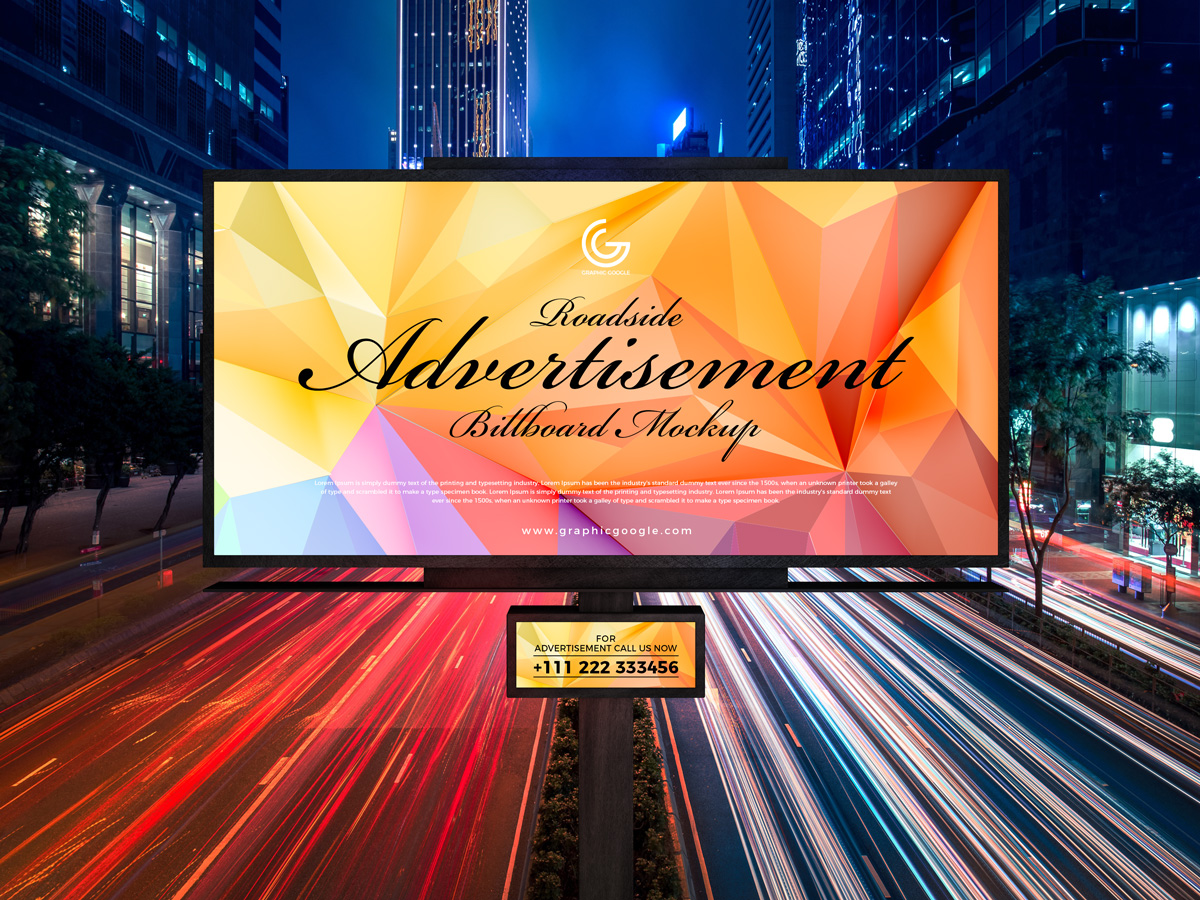Free Roadside Outdoor Advertisement Hoarding-Billboard Mockup