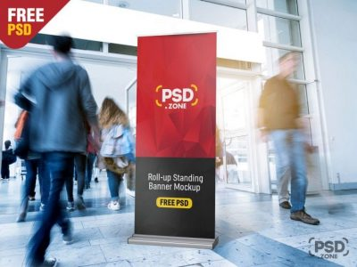 Free Roll-Up Standing Banner Mockup
