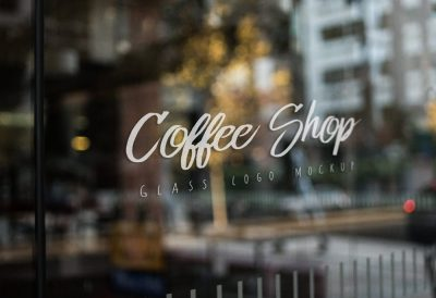 Free Shop Window Logo Mockup