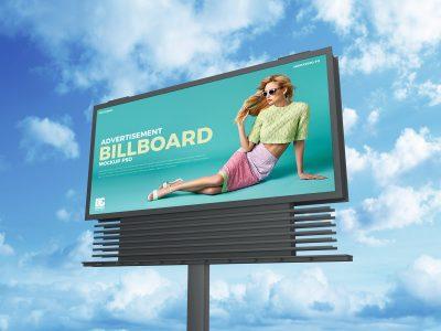 Free Sky Advertisement Billboard Mockups