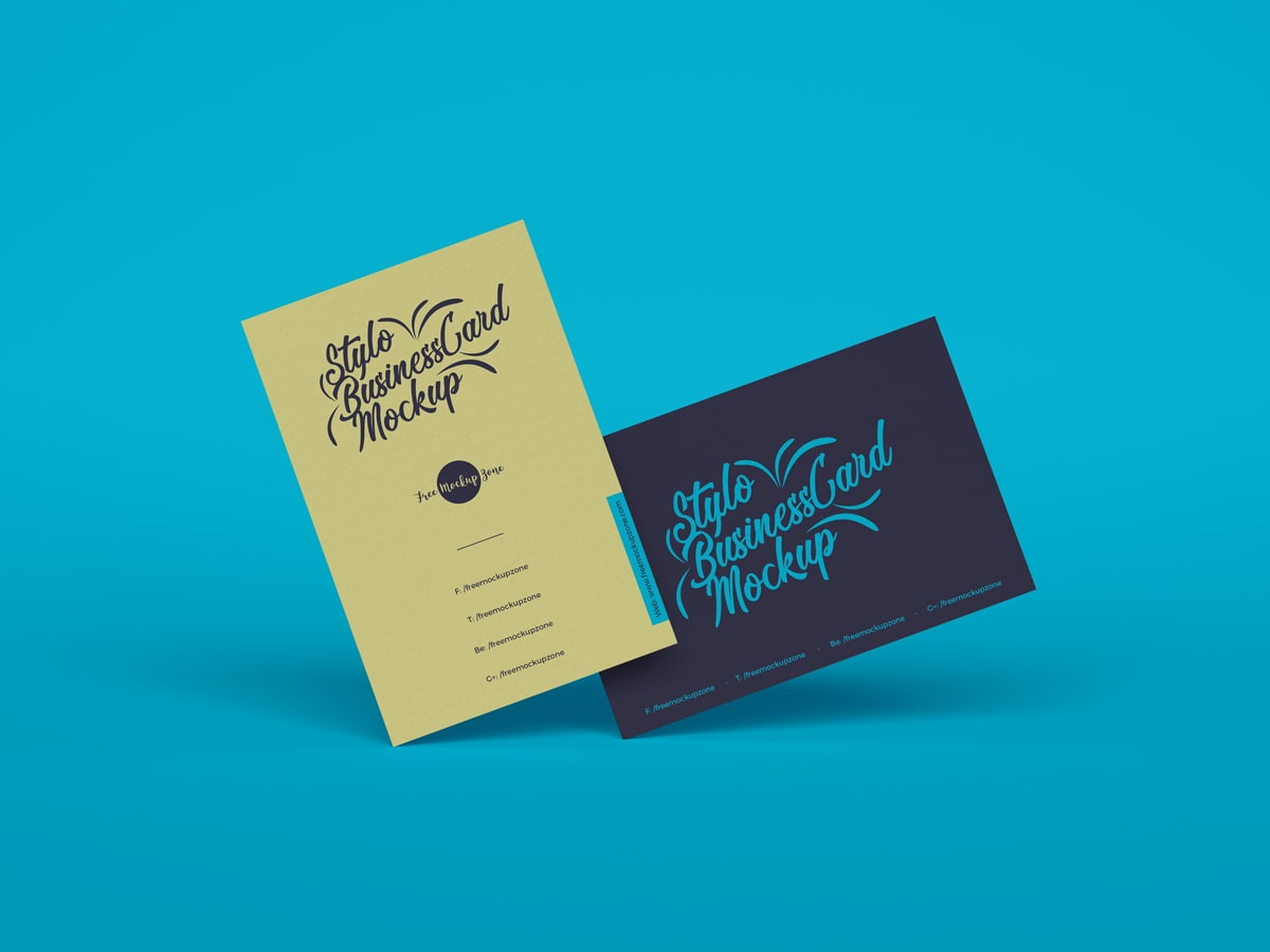 Free Stylo Business Cards Mockup