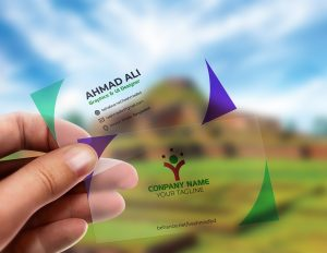 Free Translucent Plastic Business Card Mockup