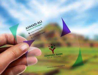 Free Translucent Plastic Business Card Mockup
