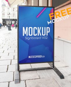 Free Vertical Signboard Mockup