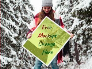 Free Winter Photo Frame Mockup