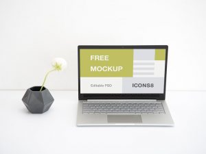 Free Work Space Laptop Mockup