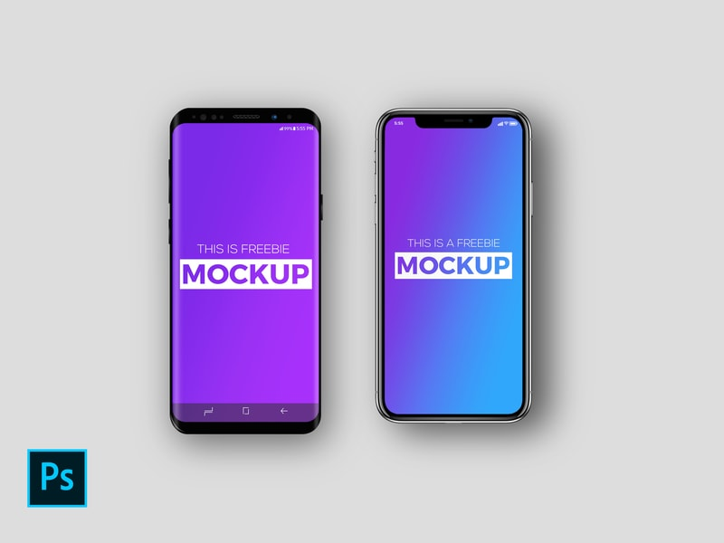 Free iPhone X & Galaxy S9 Mockup