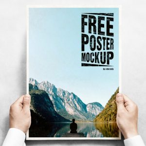 Hands Holding a Poster Free Mockup
