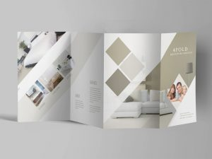 4 Fold Accordion Brochure Free Mockup