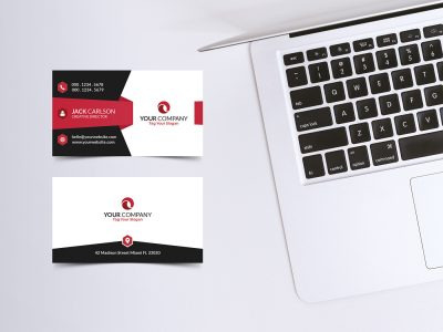 Free Business Card with MacBook Mock-ups