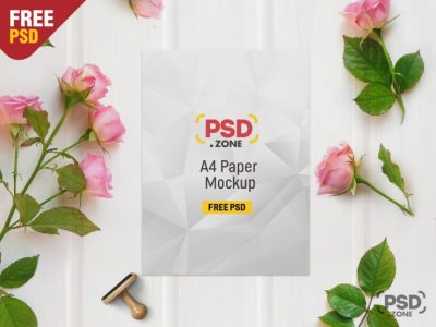A4 Paper Free Floral Mockup