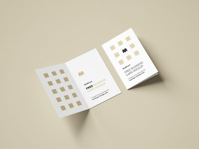 Free Folded Business Card Mockups