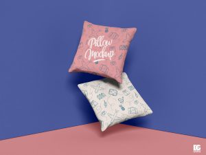 Free Square Pillow Mockup Design