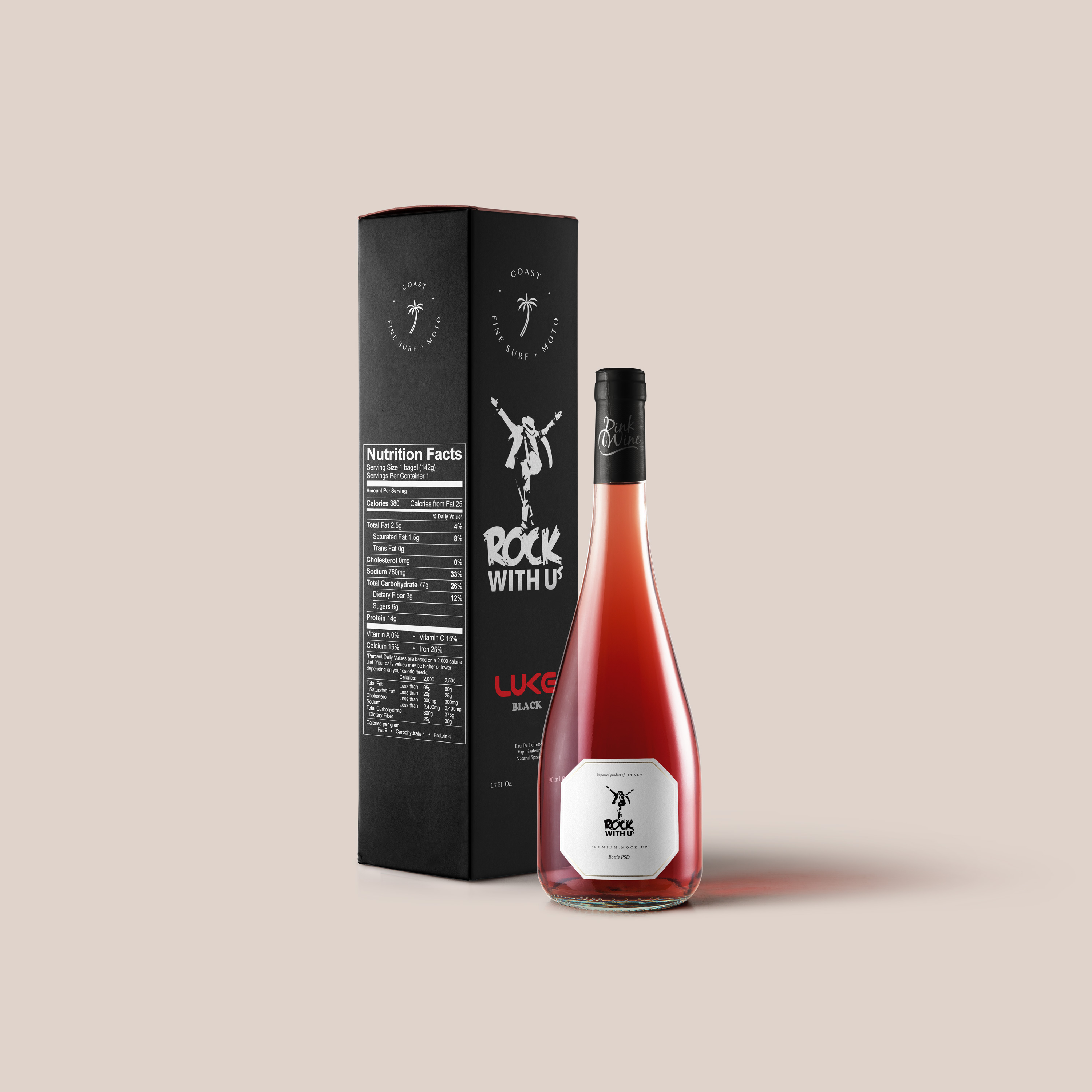 Free Burgundy Pink Bottle Mockup