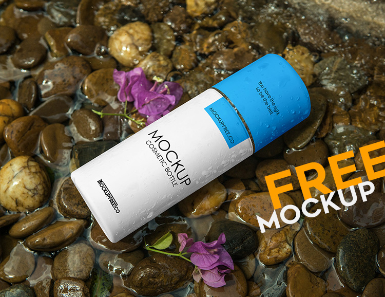 Free Cosmetic Bottle Mockup