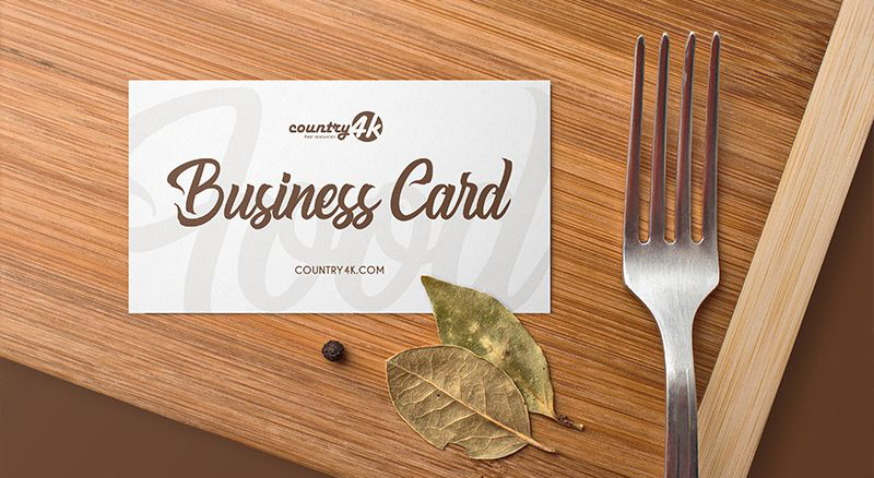Free Food Business Card Mockup