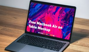 Free MacBook Air on Table Mockup