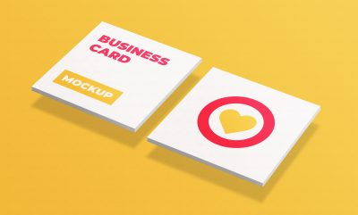 Free Square Business Cards Mockup