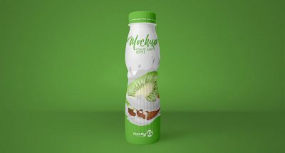 Free Yogurt Dairy Bottle Mockup
