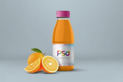 Free Orange Juice Bottle Mockup