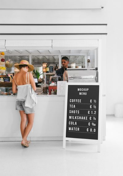 Restaurant Outside Banner Stand Free Mockup