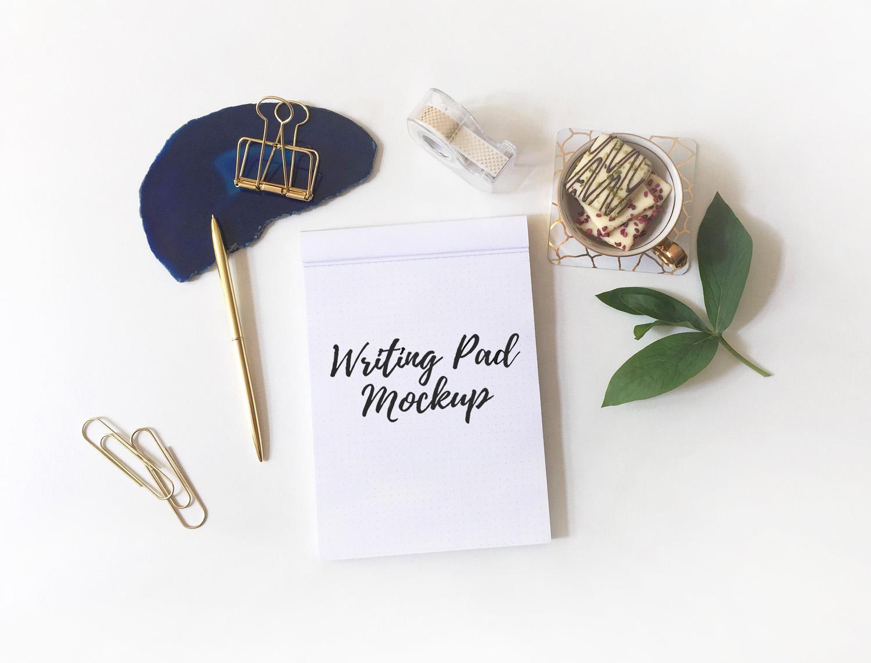Free Writing Pad on Desk Mockup