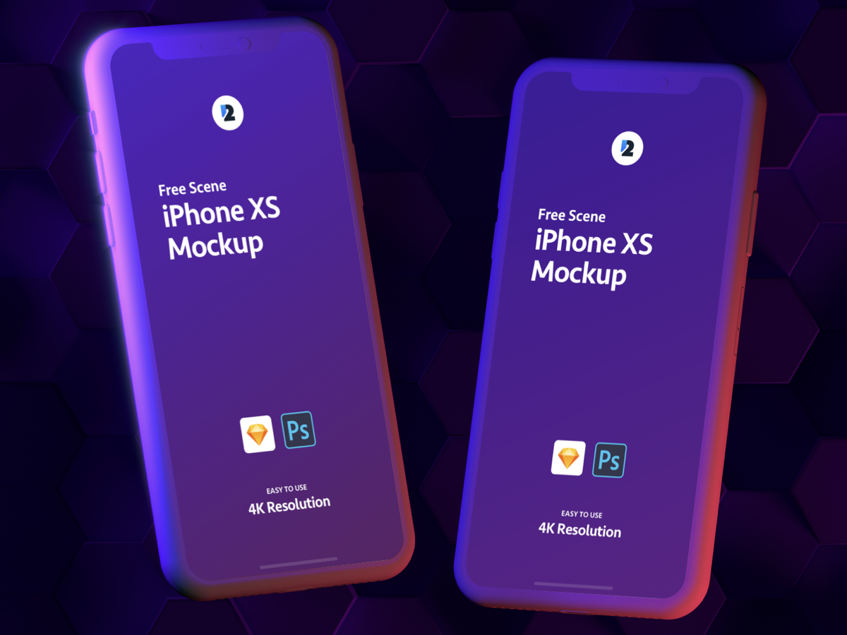 Free iPhone XS Double Light Scene Mockup