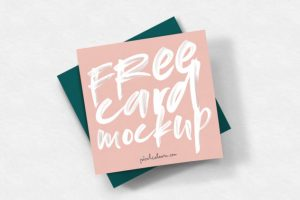 Free Square Card Mockup