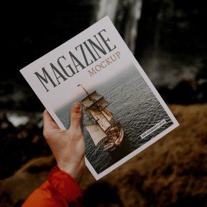 Magazine With Hand Free Mockup