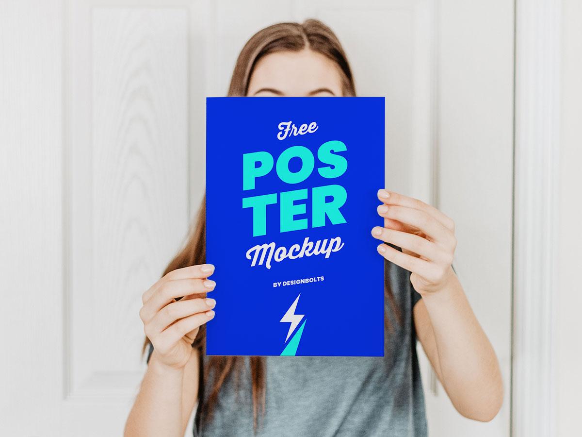 Free Female Hand Holding Poster Mockup Free Mockup