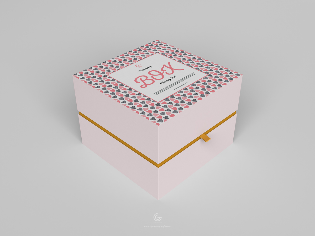 Free Half Side Packaging Box Mockup
