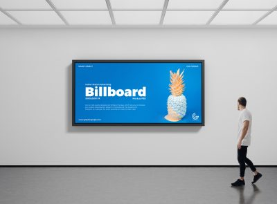 Free Indoor Station Advertising Billboard Mockup