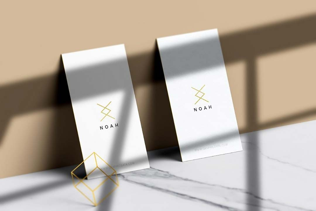 Vertical Business Card Free Mockup