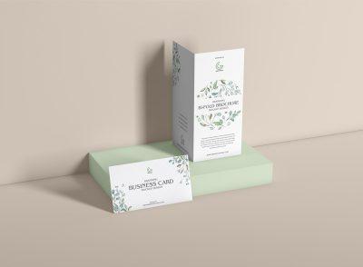 Bi-Fold Brochure With Business Card Mockup