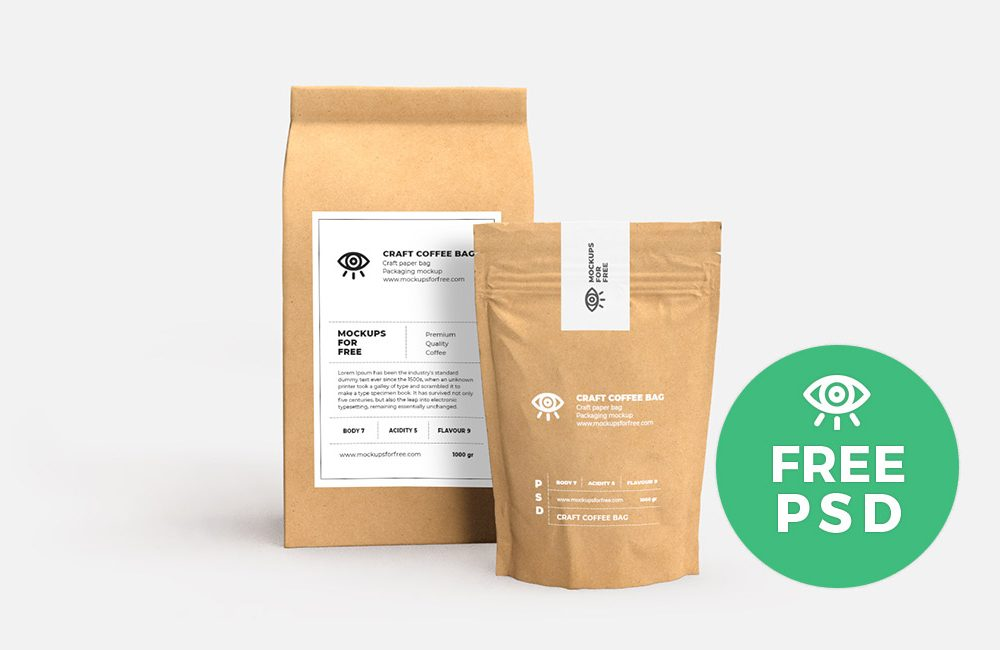 Craft Paper Bags Packaging Free Mockup