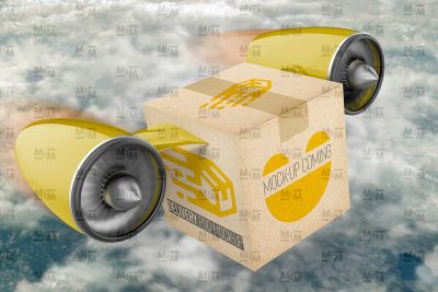 Delivery Box Perspective View Free Mockup