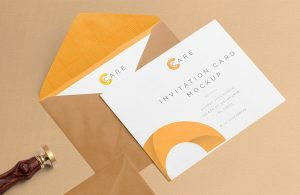 Free Invitation Mockup With Card and Envelope