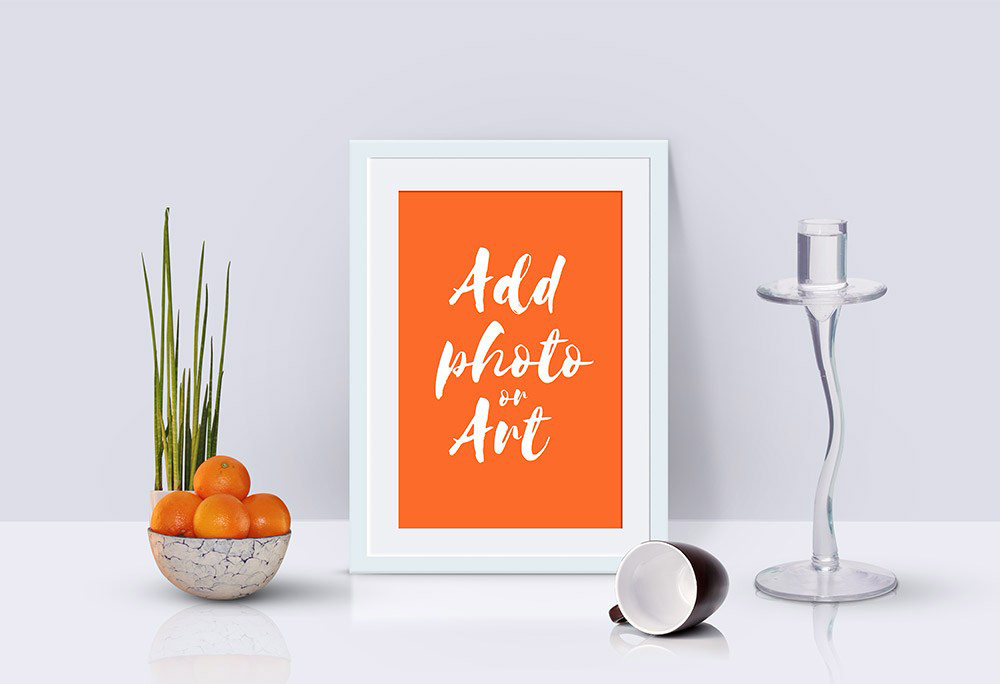 Free Photo Frame PSD Mockup Scene