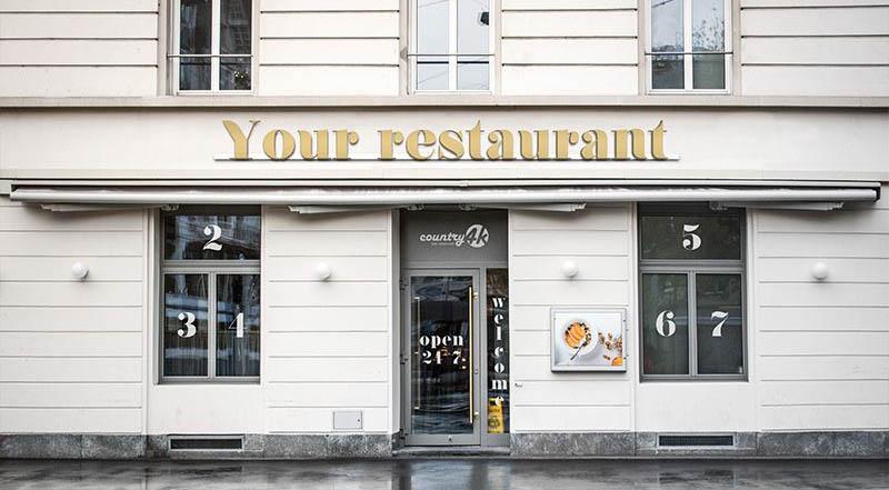Free Restaurant Facade PSD Mockup