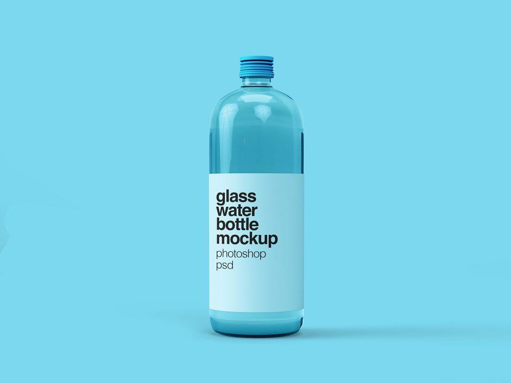 Free Water Glass Bottle PSD Mockup
