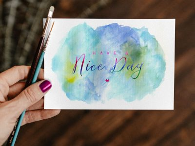 Free Watercolor Painting Greeting Card Mockup