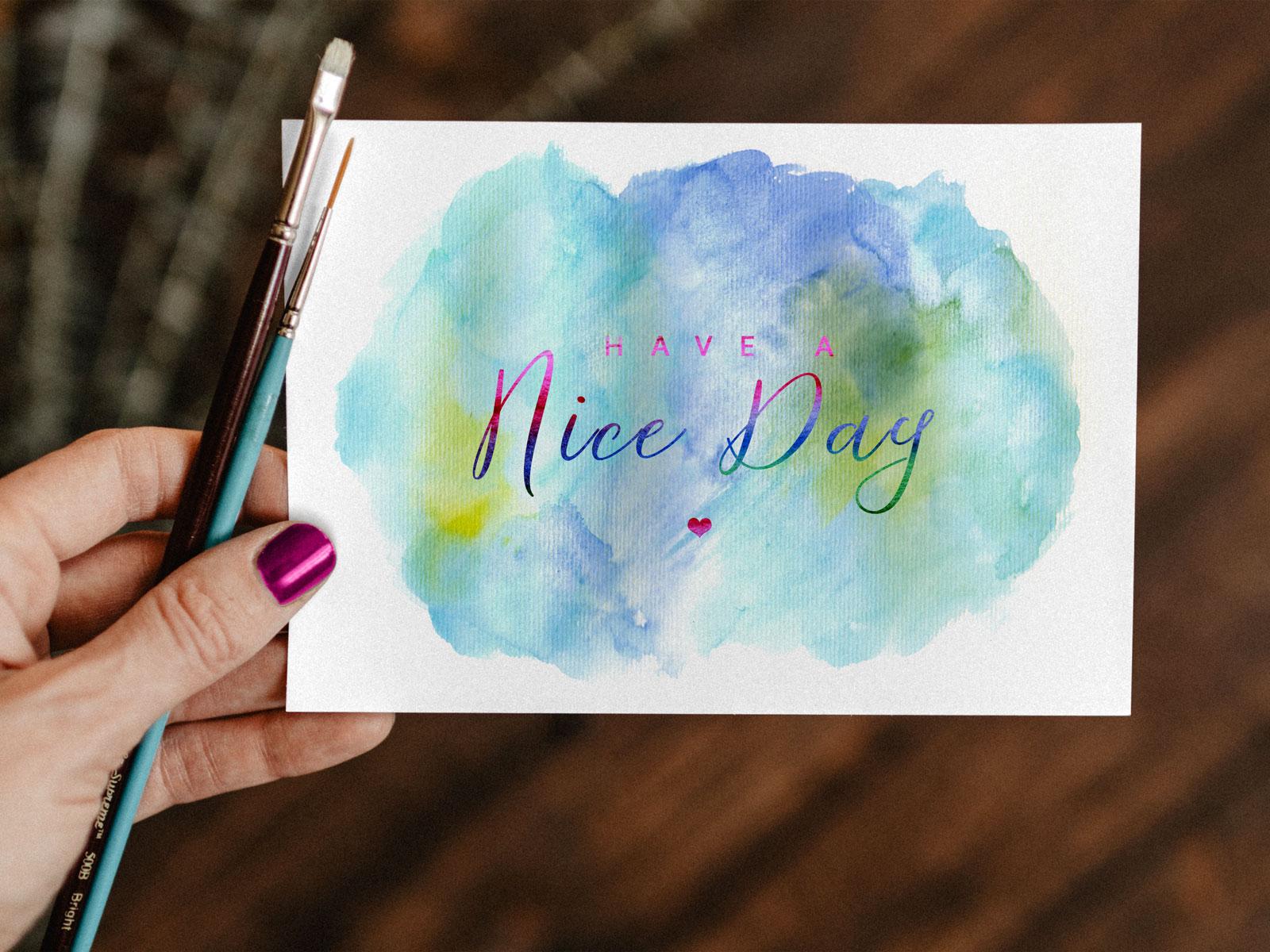Free Watercolor Painting Greeting Card Mockup