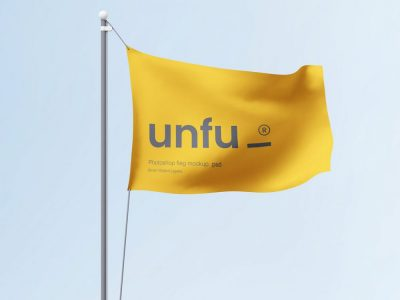 Free Waving Flag Mockup in PSD Format