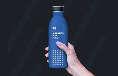 Hand Holding Plastic Bottle Mockup