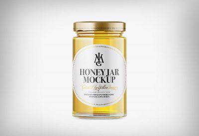Honey Jar Bottle Free Mockup PSD Template