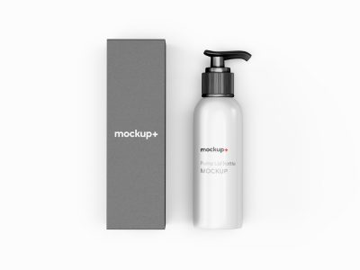 Pump Lid Bottle with Packaging Free Mockup