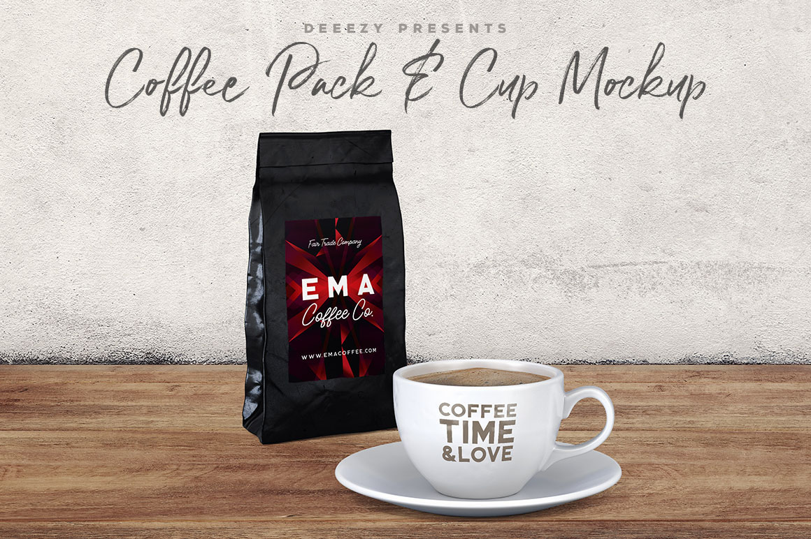 Coffee Pack & Cup Free PSD Mock-ups